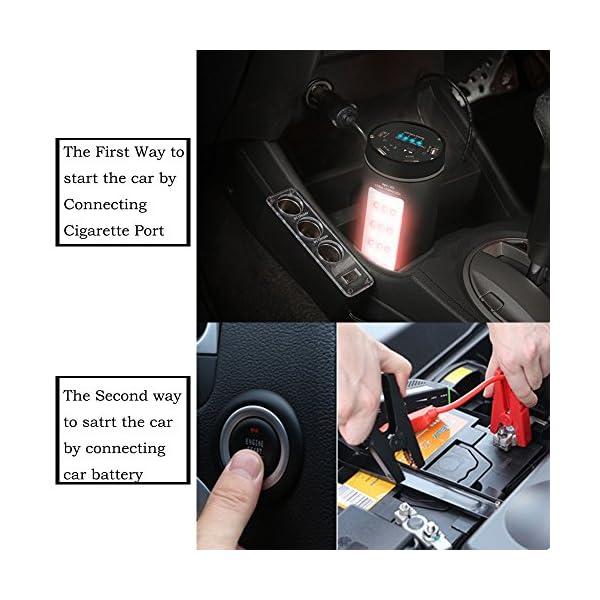 KINDEN aluminio coche Jump Starter 12000mAh Portable Power Banco Extral recargable con 500A corriente máxima iluminación LED multifunción de emergencia, SOS luz, cuatro USB puertos de carga, seguridad martillo, calentador