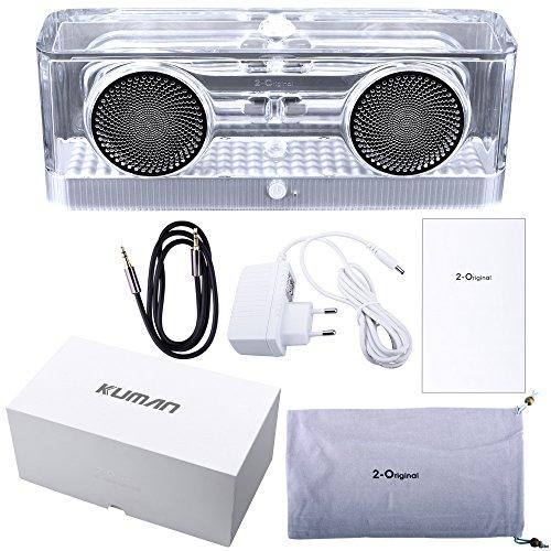 Kuman HIFI Altoparlante Bluetooth Con Contenitore Trasparente, Altoparlante Stereo Digitale Portatile Integrato 8W x 2, 10 Ore Di Autonomia, Con Microfono Incorporato Per Chiamate In Vivavoce BT-240A