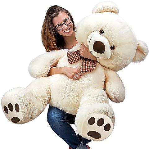 Teddy bear XL 100 cm - Nounours Ours en peluche crème - Doux moelleux - Câliner dorloter