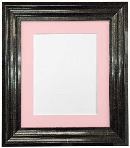 Frames By Post Firenza-Stil, glänzend, schwarzer Bilderrahmen mit Passepartout, plastik, Pink Mount, 6