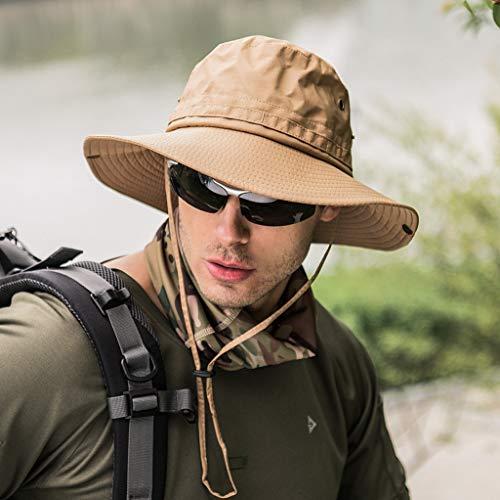 Shentukeji UPF 50 Chapeau de Soleil Large Bord Protection UV Pliable été extérieur étanche Safari Plage pêche randonnée Chapeau Menton réglable - Vert - Taille Unique