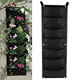 Librao Planting Grow Bags 7 Pockets Wall Hanging Planter Outdoor Indoor Gardening Vertical Greening Flower Container Black Plant Pouch
