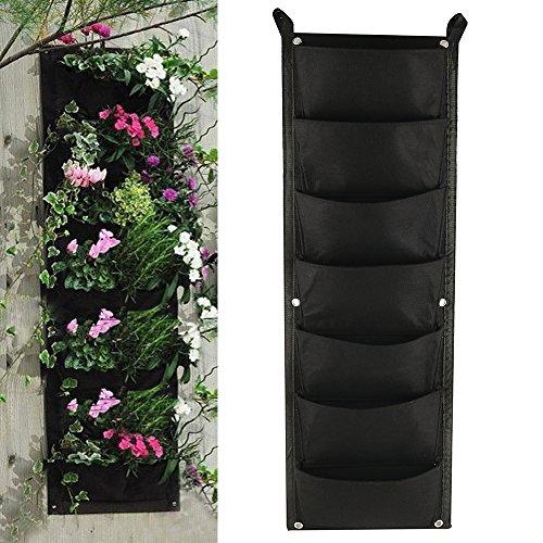 Librao - fioriera da appendere a parete con 7tasche, da interni ed esterni, contenitore per piante e fiori, per giardinaggio verticale, colore nero 1pack