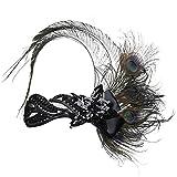 Babeyond 1920s Stil Damen Stirnband mit Pfau Feder Inspiriert von Der Große Gatsby Accessoires für Damen Freie Größe (Schwarz)