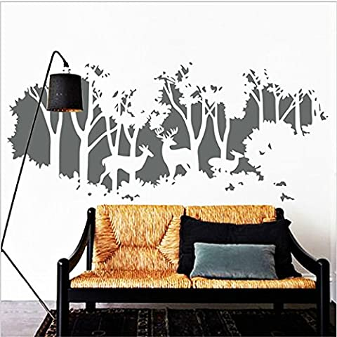 Yanqiao Personality Creative Deer on The Tree Wall Sticker for Living Room Decoration Removable Vinyl Decal Art Home Decorate Size 36.8*17.2