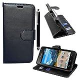 ZTE Blade L110 / A110 Handyhülle Mobile Stuff Book Case ZTE Blade L110/A110 Hülle Klapphülle Tasche im Retro Wallet Design mit Praktischer Aufstellfunktion + Stylus (Plain Black Book)
