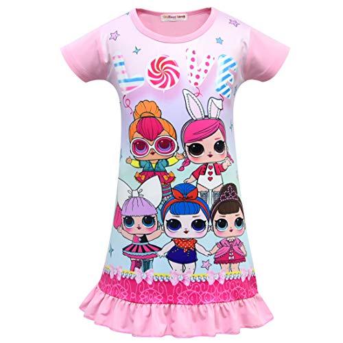QYS Die Pyjama Party Girls LOL Überraschung Night Dress Nighty Nachthemd Pink Dress Pagent Theme,pink,130cm (Pagent Kleider Für Kinder)