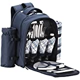VonShef - 4 Person Blue Tartan Picnic Backpack with cooler compartment, detachable bottle/wine holder, fleece blanket, cutlery and plates - Free 2 Year Warranty