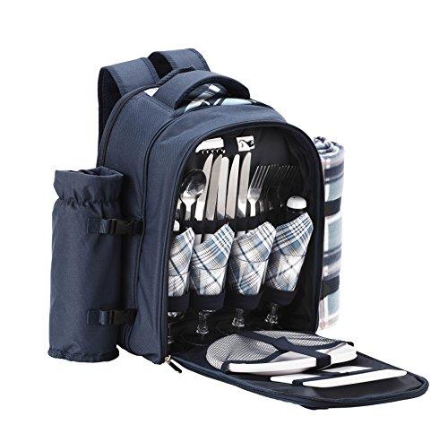 VonShef – Blauer Tartan-Picknickrucksack für 4 Person mit Kühlfach, abnehmbarem Flaschen/Weinhalter, Fleecedecke, Besteck und Tellern