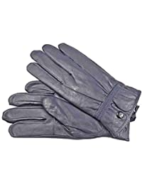 LADIES QUALITY SOFT NAVY LEATHER GLOVES WITH PRESTUD FASTENING