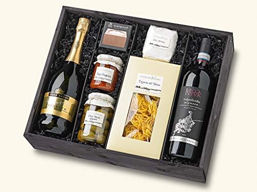 Gefüllter Geschenk-Korb Präsent-Korb / Box Set mit italienischen Gourmet Spezialitäten und Wein (Geschenk-korb Mit Wein)