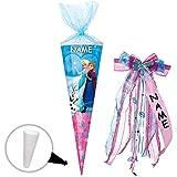 Unbekannt Schultüte -  Disney die Eiskönigin - Frozen  - 100 cm - 12 eckig - incl. Name und individueller großer Schleife - Organza Abschluß - Zuckertüte - mit / ohne..