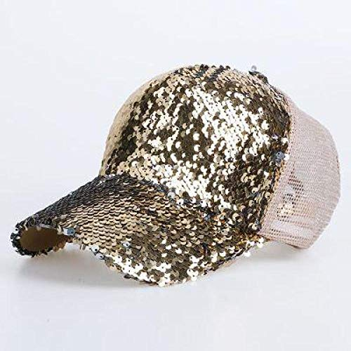 zhuzhuwen Pailletten entlang der Kappe Damen lässig Wilden Sonnenschirm Mesh Cap Baseball Mütze Flut 4 einstellbar gebogen