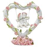 2Engel in Herz Swing mit Rosen Dekoration