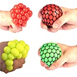 #1: Mesh Squishy Stress Relief Balls Pack of 2 - (1TNG131) - Random Color Squeeze Grape Balls Tear-Resistant Non-toxic,