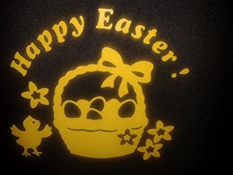 10 x Happy Easter yellow basket window decoration decals incl. eggs + chick 6