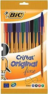 BIC Cristal Original Stylos-Bille Pointe Fine  - Couleurs Assorties, Pochette de 10