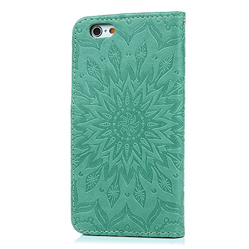 Coque iphone 6 6S, Case Flip Cover Clapet 2 en 1 Housse Protecteur en Cuir PU avec TPU Silicone Case Coverture + Stylo Capacitif + Bouchon Anti-poussière Vert Menthe