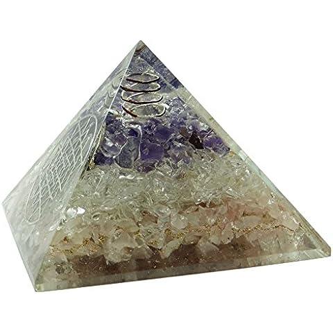 Harmonize Generatore di energia espiritual cristallino Reiki Chakra del cuore nuumite Orgón Piramide REGALO ROJO DE LA BOLSA Diseño # 1 (cuarzo rosa cuarzo y amatista)