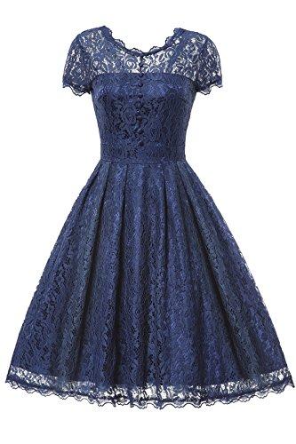 Gigileer Elegant Damen Kleider Spitzenkleid Cocktailkleid Knielanges Vintage 50er Jahr hochzeit Party blaue XXL (Blaues Kleid Für Frauen Hochzeit)