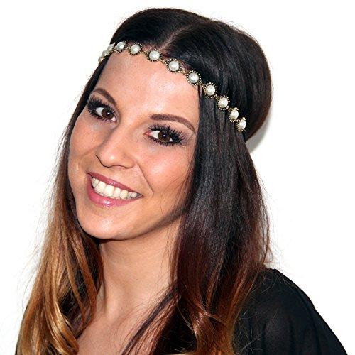 Vintage Haarband Perlenhaarband Haar Kopfschmuck Kopf Festival Schmuck Kette Band Haarspange mit Perlen in Gold-Optik von DesiDo®