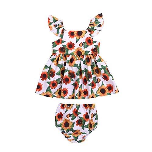 Anywow Säugling Baby Mädchen Sunflower Kleid Rüschenhülse Sommer Prinzessin Party Kleid Tops + Shorts Kleidung Set 0-24M