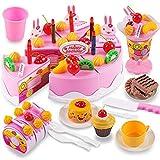 T-MEKA Kinderküche Geburtstagstorte, 75-TLG Rosa, Schneiden Spielzeugküche Essen Kinder Vortäuschen Spielzeug Geschenk zum Geburtstag Weihnachten Erdbeere(22,5 * 19 * 10,5 cm)