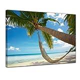 Kunstdruck - Palme - Hängematte - Bild auf Leinwand - 60 x 50 cm - Leinwandbilder - Bilder als Leinwanddruck - Urlaub, Sonne & Meer - Südsee - tropischer Strand