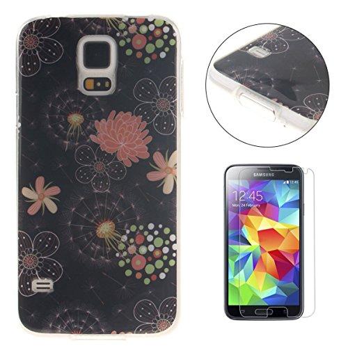 Samsung Galaxy S5 i9600 TPU gel di silicone Caso [con Gratuito Proteggi schermo] CaseHome Premio Morbido Ultra Sottile TPU Copertura Paraurti di Gomma Moda Bellezza Modello Stampato Disegno Antiurto Pelle Conchiglia Protettore Misura Perfetta per Samsung Galaxy S5 i9600-Fiori colorati