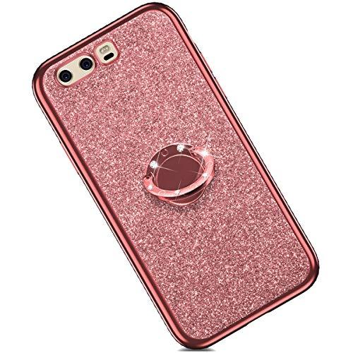 Felfy Cover Compatibile con Huawei P10 Plus Custodia Glitter Brillantini Diamante Strass Morbido Silicone TPU Cover con Anello Bling Cristallo Strass Placcatura Bumper AntiGraffio Case-Oro Rosa