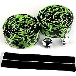 KIIVI Durable diseño de camuflaje corcho cinta para manillar Wrap ciclismo carretera bicicleta deportes antideslizante con final tapones, GREEN & BLACK
