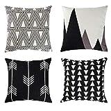Uarter dekorative Case Set Baumwolle Leinen Dekokissen deckt Kissenbezug mit unsichtbaren Reißverschluss, geometrische Muster, schwarz und weiß, 18''x18 '', 4 Stück