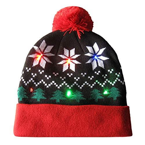 Weihnachten Strickmütze Piebo LED Leuchten Mütze Stricken LED Xmas Hut Winter Schnee Hut Beanie Cap für Männer Frauen Indoor und Outdoor Festival Feiertag Feier Parteien Bar