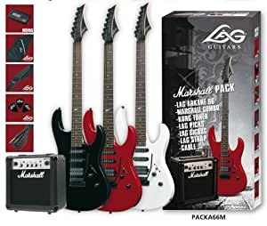 Pack Guitare électrique A66 + Amplificateur marhsall MG10CF Black