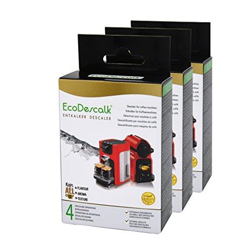 EcoDescalk, 3er Pack x 4 Beutel. Entkalker-Pulver für alle Kaffeemaschinen & Kaffeevollautomaten...