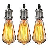 GreenSun LED Lighting 3er Vintage Edison Lampenfassung E27 Fassung + Lampe Deckenfassung Sockel Lampenfuß Retro Hängelampe Halter Pendelleuchte Adapter DIY Lampenzubehör, Schwarz