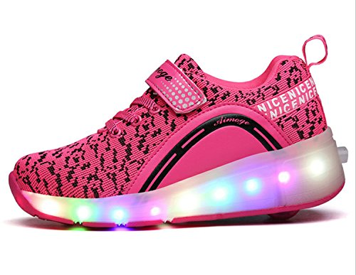 ECOTISH Enfants Fille Garçon Baskets Sneakers Lumineuses Chaussures à Roulettes Clignotante Chaussures de Sport LED avec Colorés Homme Femme Chaussure de Marche Chaussure à Roulettes Rose