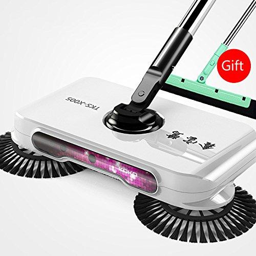 Mano empuje escoba Automático sin electricidad aspiradoras Sweeping máquina 360 Rotary (Blanco)