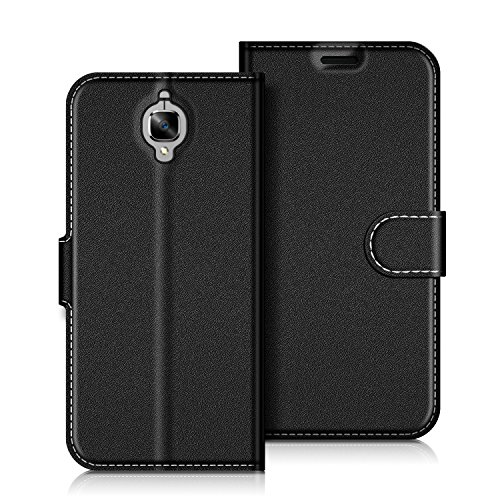 COODIO OnePlus 3T Hülle Leder Lederhülle Ledertasche Wallet Handyhülle Tasche Schutzhülle mit Magnetverschluss/Kartenfächer für OnePlus 3T & OnePlus 3, Schwarz