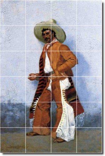 FEDERICO REMINGTON OCCIDENTAL BACKSPLASH AZULEJO MURAL 1  48X 182 88CM CON (24) 12X 12AZULEJOS DE CERAMICA