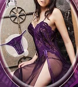 LENOGE® HOT Sexy Lingerie / Robe de Nuit / Lingerie Nuisette Top+String Sexy Libre Taille S-M/Charme pour Femme Fille Soirée--violet