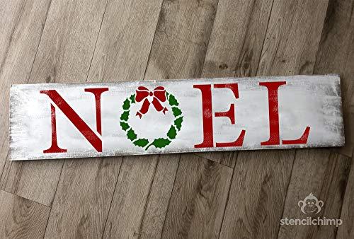 Rommmy Noel Schablone Weihnachtsschablone für Holzpaletten Weihnachtsschild Dekoration Kamindeko