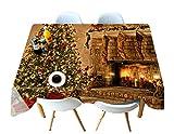 QWER Polyester Tischdecke 3D Braune Weihnachtsbaum Dekoration Druck Staubdicht Dicke KüChe Dekoration Anti-Fouling Arbeitsplatte, Brown, 70cmx150cm