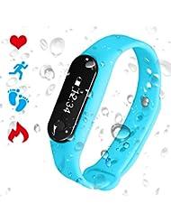 Bracelet Connecté Cardiofréquencemètre Podomètre Calories Sommeil Tracker d'Activité Bluetooth 4.0 USB Étanche IP65 Montre Sport Homme Femme pour iOS iPhone Android