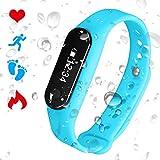 PADGENE Bracelet Connecté Cardiofréquencemètre Podomètre Calories Sommeil Tracker d'Activité Bluetooth 4.0 USB Étanche IP65 Montre Sport Homme Femme pour iOS iPhone Android (Bleu)