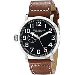 Stuhrling Original Aviator Concorso Monterey L Men's Quartz Watch with Black Dial Analogue Display and Brown Leather Strap 721.01