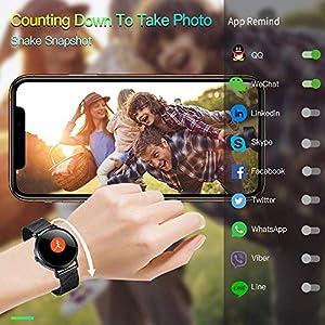 Duang CV08C Smart Watch, Fitness Tracker Watch IP67 Rastreador de Actividad a Prueba de Agua Monitor de Ritmo Cardíaco, Monitor de Sueño para Mujeres Hombres, iOS/Android (Black)