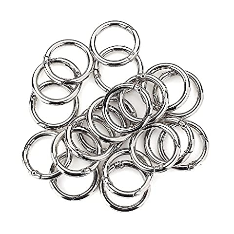 Round Carabiner Clip 20 Pcs O Spring Loaded Gate Lock Clips Hook Key ring Buckle (Silver)