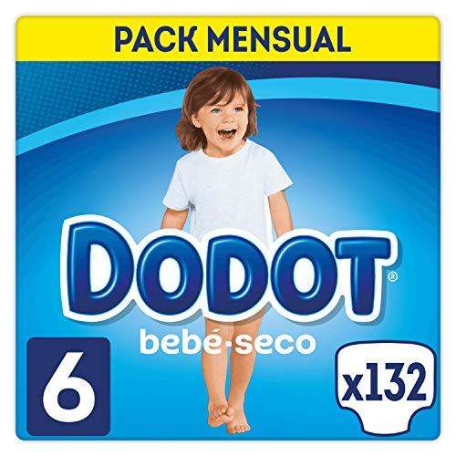 DODOT Bebé-Seco Pañales Talla 6, 132 Pañales, Pañal con Canales de Aire - 13+ kg
