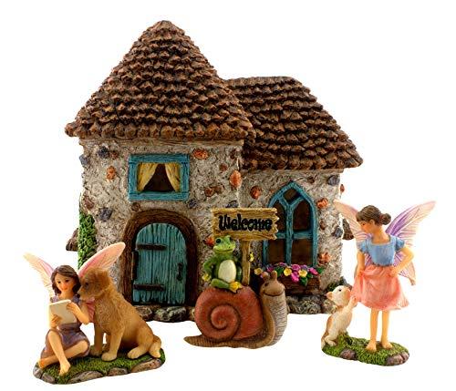 Von Hand Bemalt, Sind Mit Schreibtischen (PRETMANNS Feengartenzubehör - Haus-Set mit Miniatur-Feen und Willkommensschild - Feenhaus ist 15,2 cm hoch und Tür kann geöffnet - 4 Stück)